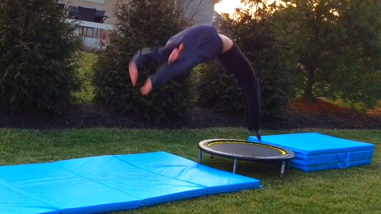 wills gymnastics on a mini trampoline youtube