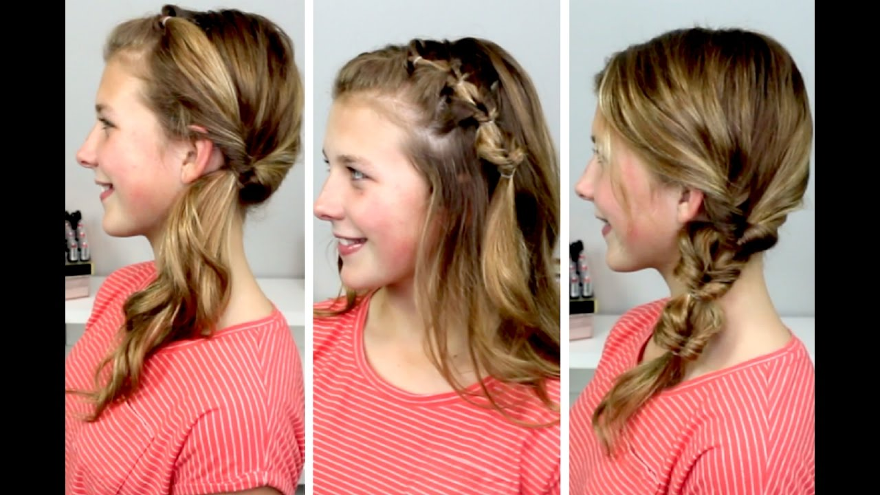 3 Cute, Quick & Easy Hairstyles!! - YouTube