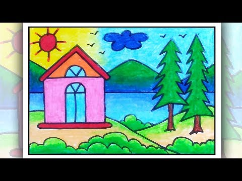 How To Draw A Scenery Of Village| Simple Scenery Drawing For Beginners