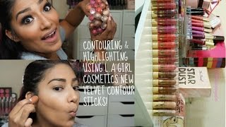 How I Contour & Highlight Using L.A Girl Cosmetics Velvet Contour Sticks + Review On All 16 Shades