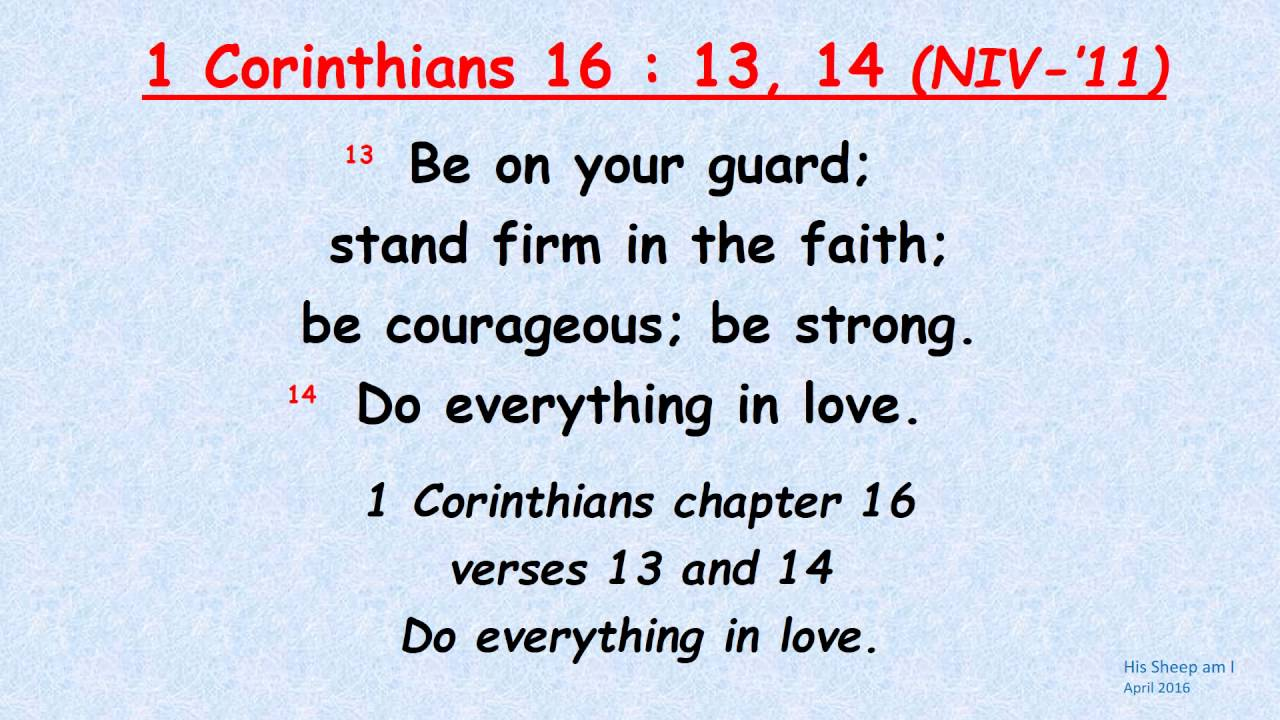 1 corinthians 16 13 14 be on your guard scripture memory song