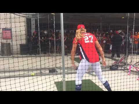 Jennie Finch takes batting practice before the 2018 MLB Celebrity Softball Game at Nationals Park