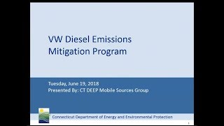 June 2018 Webinar on Connecticut's Volkswagen Diesel Emissions Mitigation Program