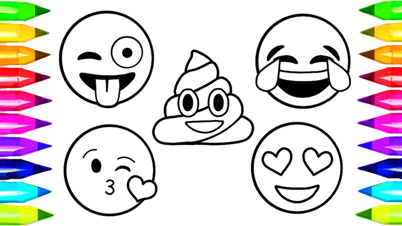 Emoji coloring pages how to draw and color emoji faces learn colors with coloring pages for kids