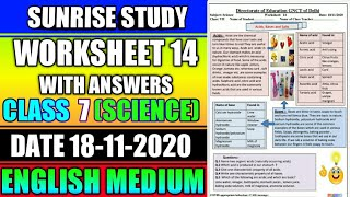 Worksheet no 14 Date 18-NOV-2020 Class 7 th Sub - SCIENCE ENGLISH MEDIUM DOE CBSE NCERT