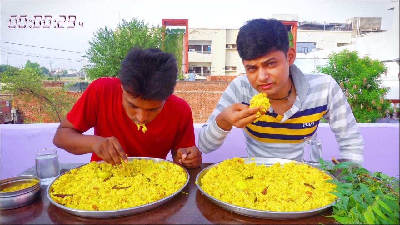 Massive Lemon Rice Eating Challenge   Extreme Lemon Rice Challenge   Fried Rice Eating Challenge