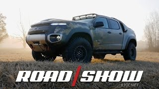 the chevrolet colorado zh2 is a hydrogen powered off road monster truck
