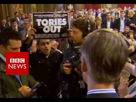 Jacob Rees-Mogg takes on protesters: 'You're a despicable person' - BBC News