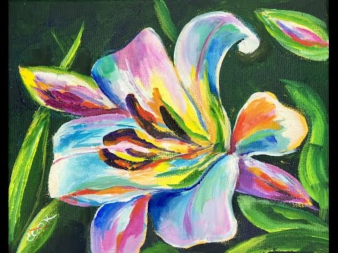 How to Paint a Colorful Spring Lilly with Acrylic Paints - Beginner Painting Tutorial - Ginger Cook