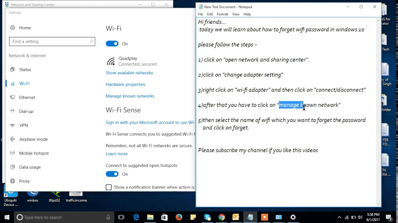 how do i forget a wireless network in windows 10
