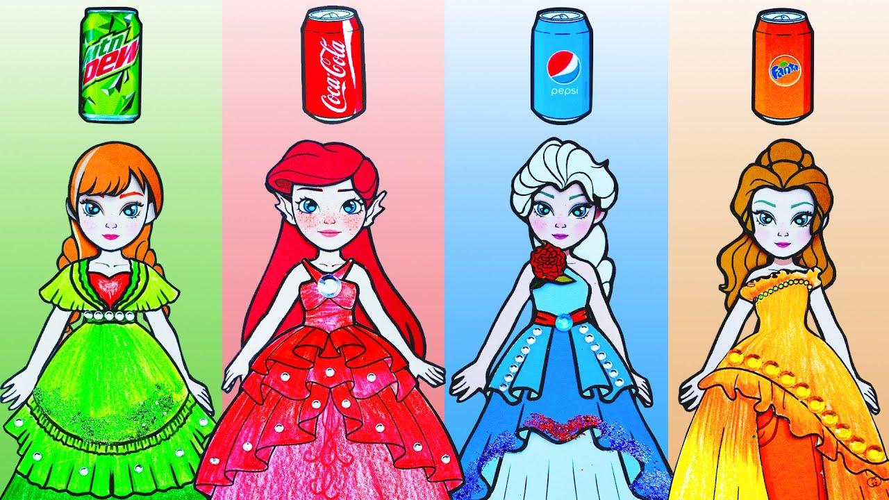 Paper Dolls Dress Up - Disney Princess Red vs Green vs Blue Dresses Handmade - Barbie Story & Crafts