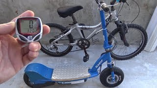 Install a bike computer- speedometer on Razor E300 electric scooter (or any vehicle w/ round wheels)