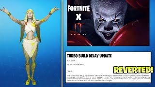 *NEW* Fortnite REVERTS Turbo Build Nerf, New Female Cupid Skin, Fortnite x IT Chapter 2 EVENT