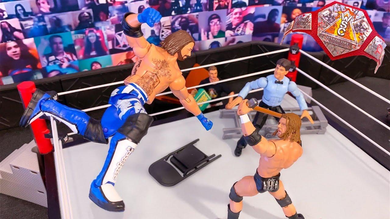 TRIPLE H VS AJ STYLES HARDCORE CHAMPIONSHIP ACTION FIGURE MATCH!