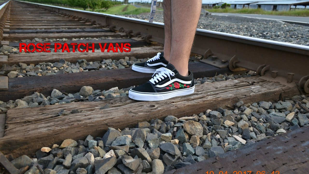 0e6031aeff DIY Rose Patch Old Skool Vans Stitched Ironed (tutorial) - YouTube