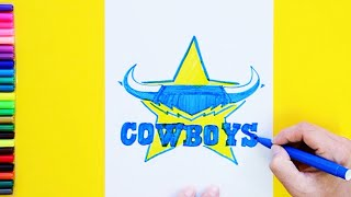 How to draw and color the North Queensland Cowboys Logo - National Rugby League