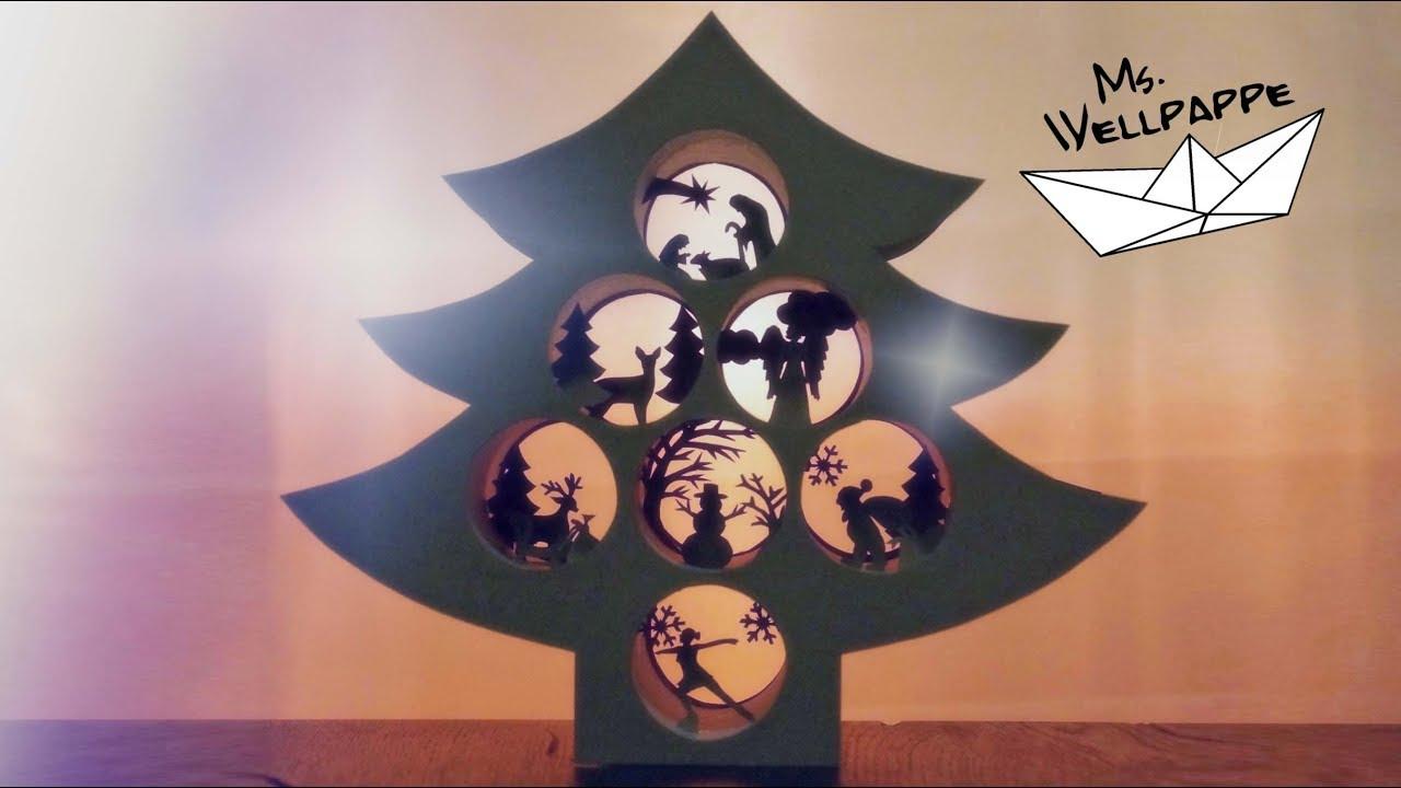 Tannenbaum basteln zu Weihnachten aus Klopapierrollen und ...