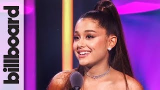 Ariana Grande accepts the Woman of the Year award at Billboard's Women in Music 2018. #ArianaGrande #WomanOfTheYear #WomenInMusic #Billboard ...