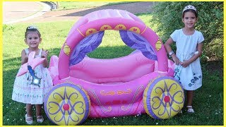 Playing with Princess Carriage Inflatable Toy by Sam and Abby