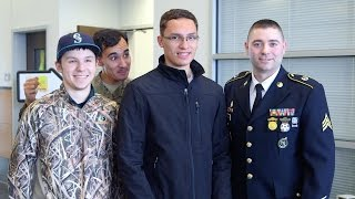 Returning Airman photobombs brother