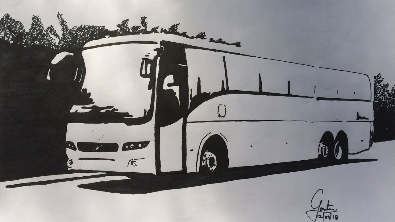 Sketching volvo bus multi axle