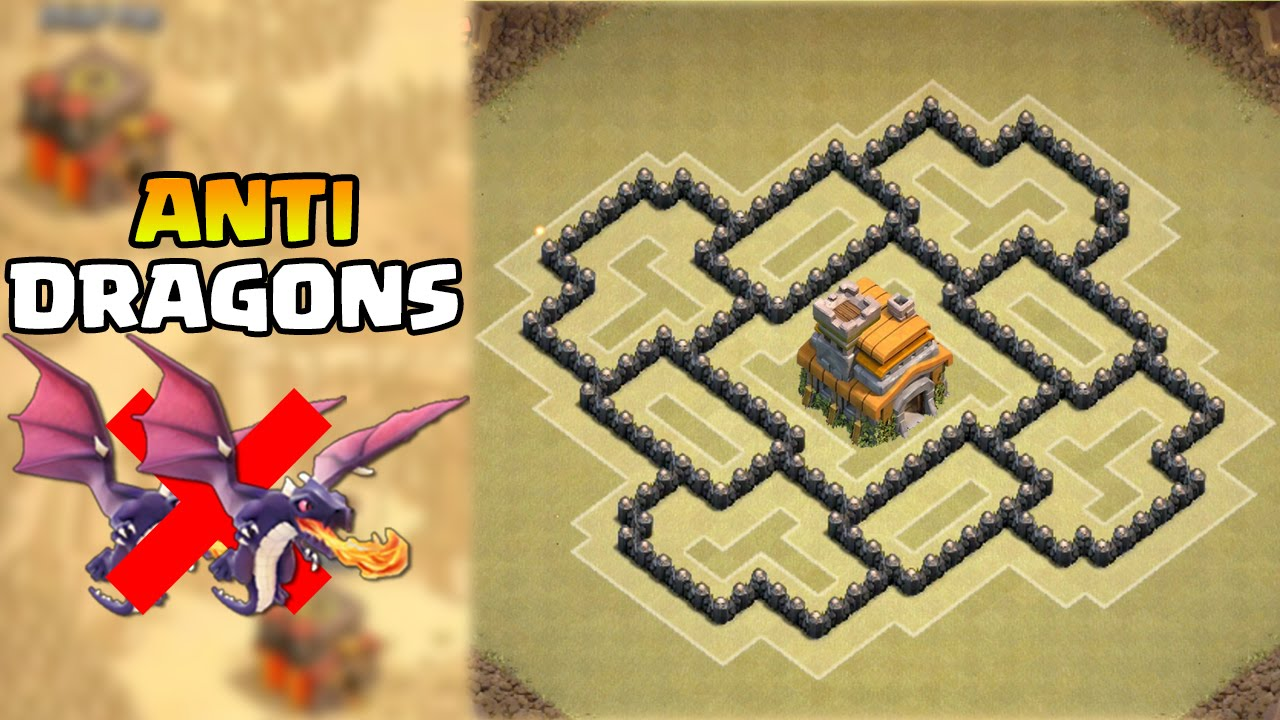 town hall 7 war base dragon defense 3