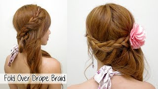 Elegant Fold Over Drape Braid l Prom & Wedding Hairstyles