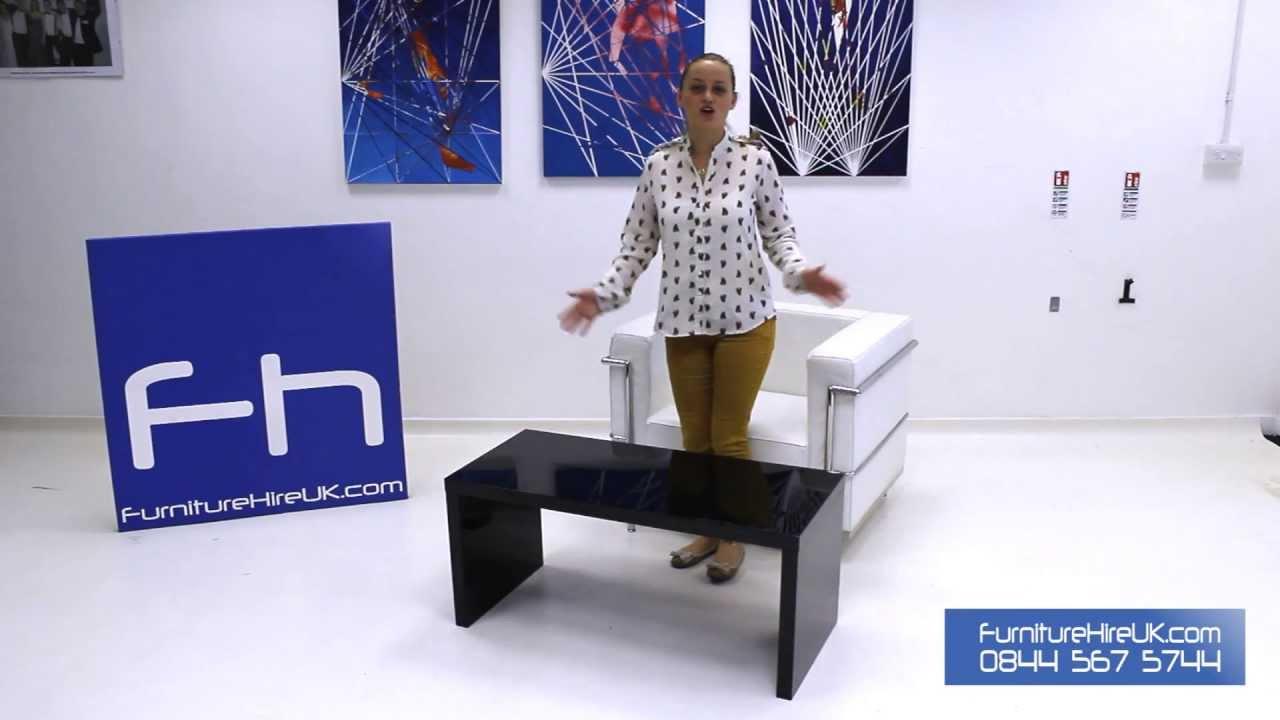 High Gloss Black Coffee Table Demo - Furniture Hire UK