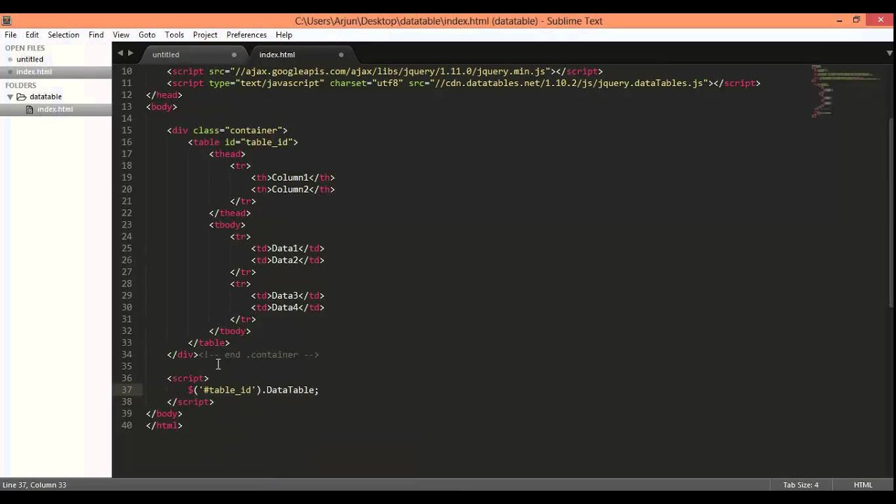 jquery datatables plugin installation and first time - YouTube