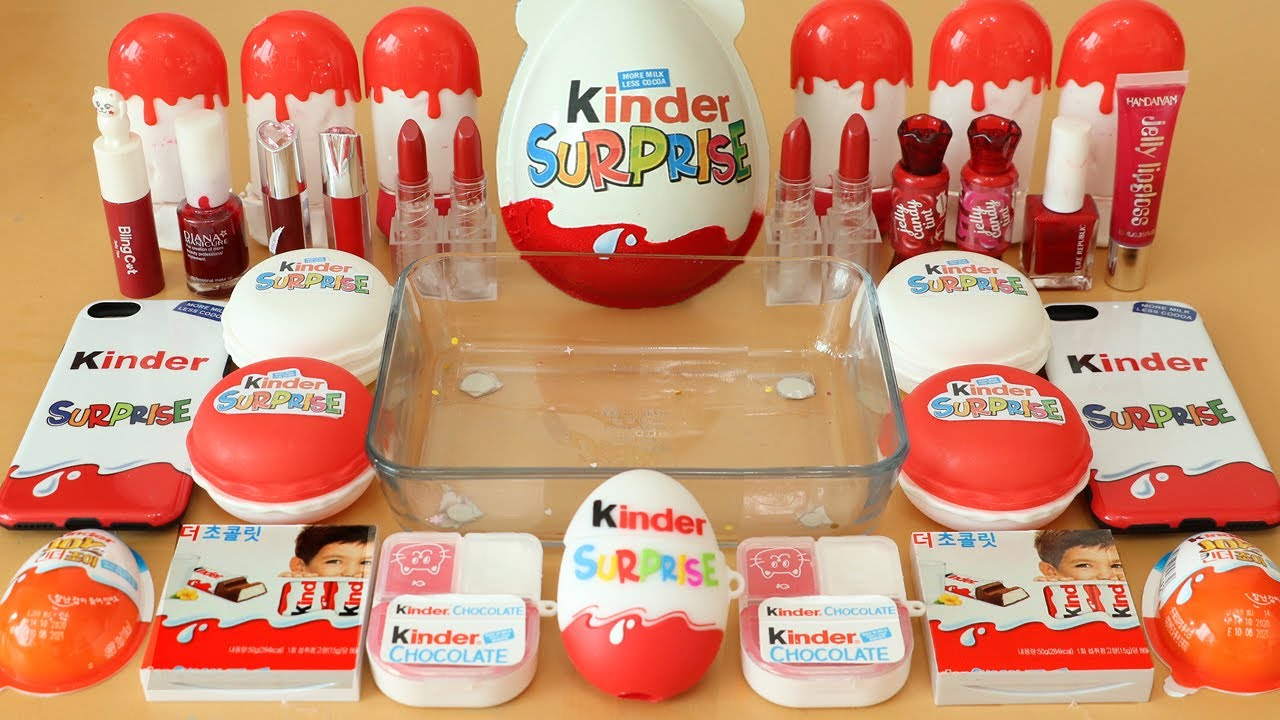 """Mixing""""Red Kinder Joy"""" Eyeshadow and Makeup,parts,glitter Into Slime!Satisfying Slime Video!★ASMR★"""