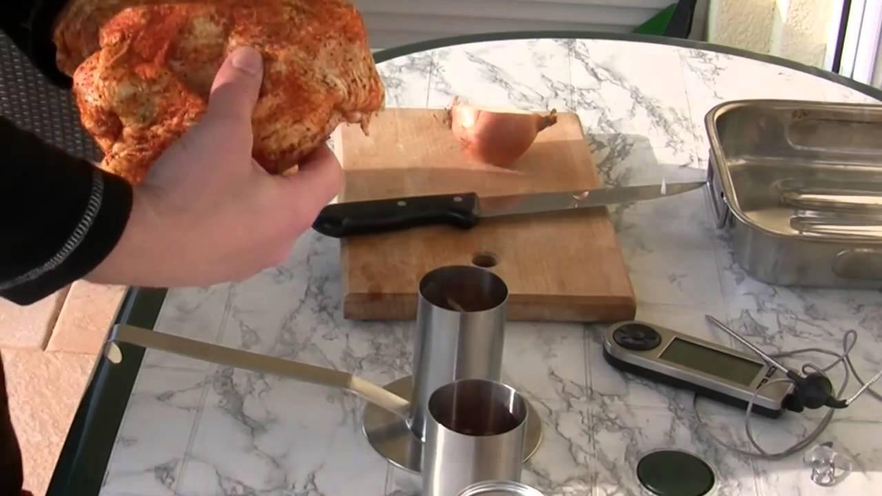 Rösle Hähnchenbräter Gasgrill : Hähnchen grillen mit dem rÖsle hähnchenbräter schritt für schritt