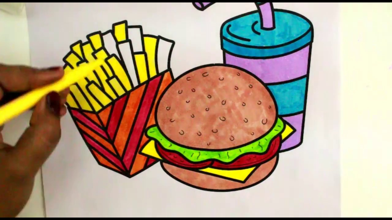Draw Color Paint Burger, Pizza, French Fries colouring Page and ...
