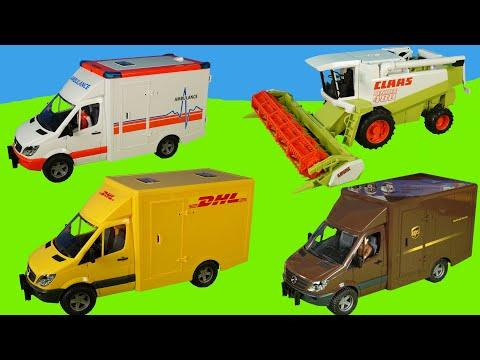 Kinderspielzeug Feuerwehrauto, Krankenwagen,Paketauto, Bagger   Spielzeugautos für Kinder