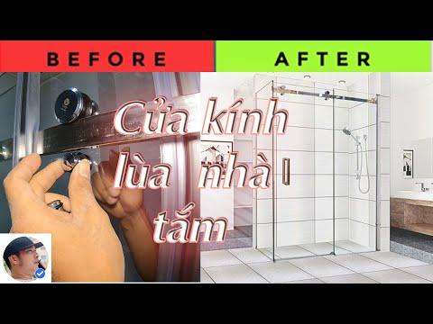 Phòng tắm kính - Hướng dẫn lắp đặt cửa kính lùa treo phòng tắm đẹp#cuakinhluat