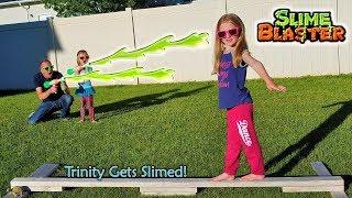 Dad's Slime Prank on 5 Year Old Kid! Madison vs Trinity Slime Blaster Chase!!!