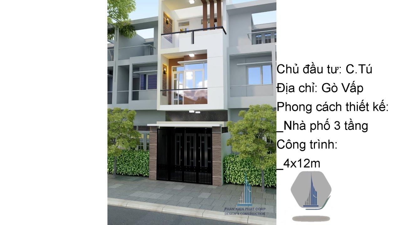 Mẫu nhà phố 3 tầng đẹp diện tích 4x12m tại Gò Vấp l Phan Kiến Phát Corp