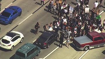 Group protesting George Floyd death shuts down California freeway
