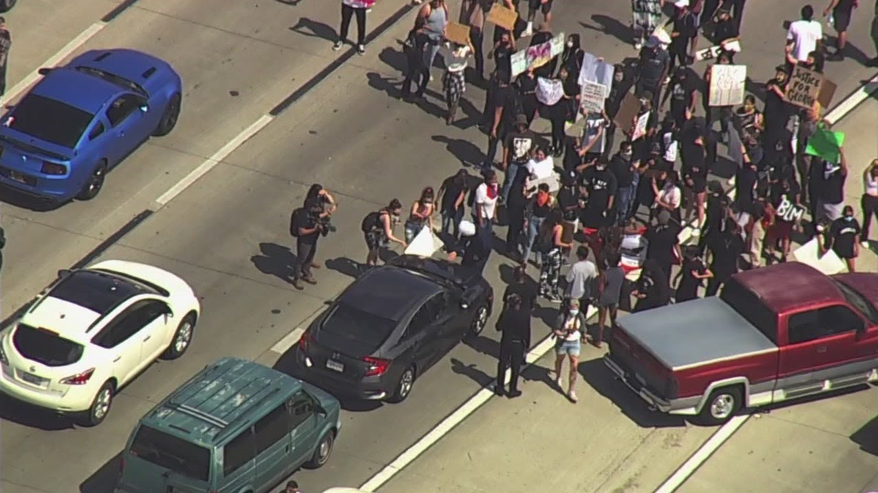 Group protesting George Floyd death shuts down California freeway -- WATCH LIVE
