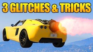 GTA 5 Online - 3 GLITCHES & TRICKS! (Rank Up Fast Trick, Drive Boat Under Map & Secret Hiding Spot)