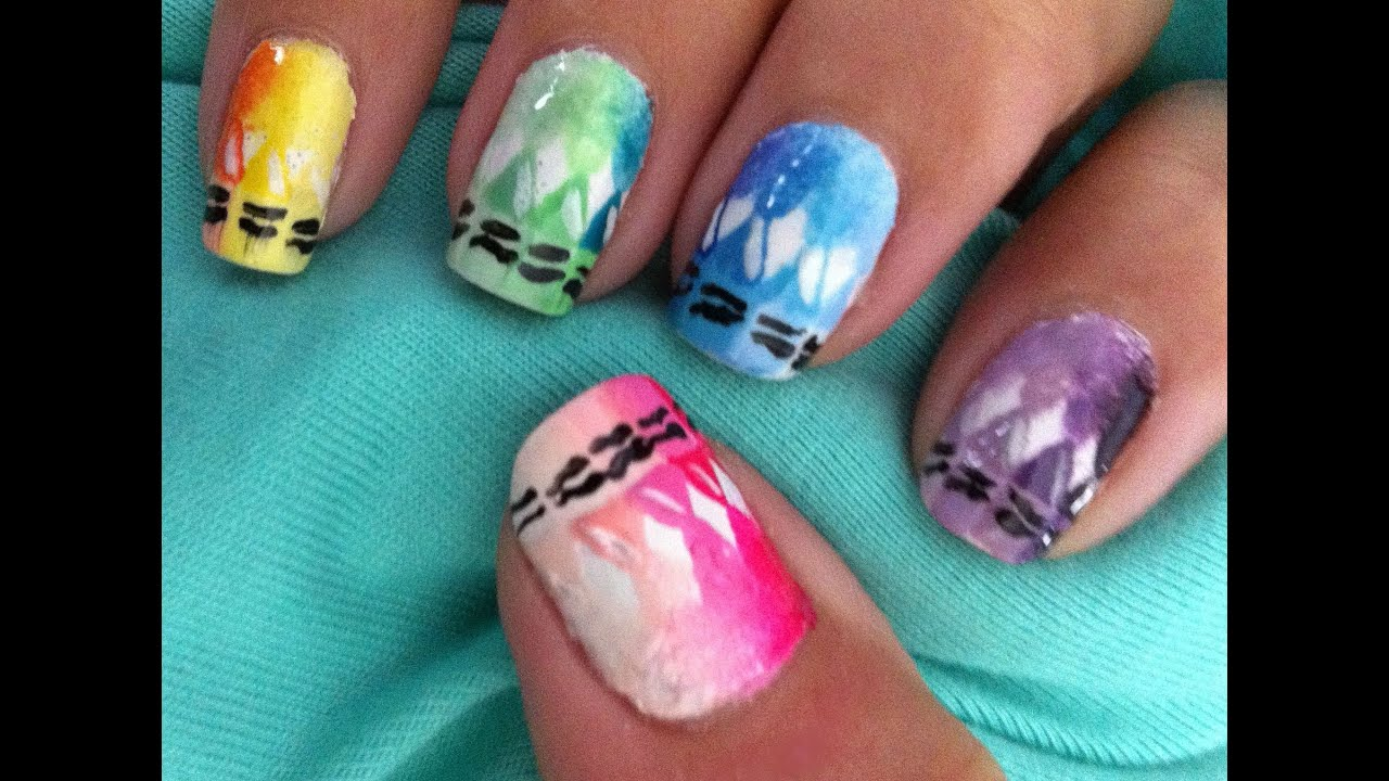 Melted crayons nail art tutorial - YouTube