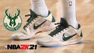NBA 2K21 CG Khris Middleton Shoe Creator - Nike Kobe V Protro Gray Camo PE