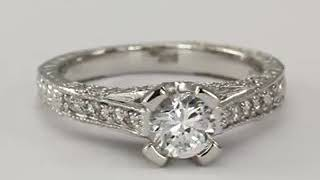 Diamond Engagement Ring 3,4 Carat In Art Deco 14k White Gold Diamond Ring