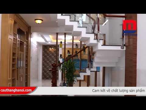 Cầu thang kính - Cầu thang kính tay vịn gỗ thi công và lắp đặt tại Tây Hồ Hà Nội