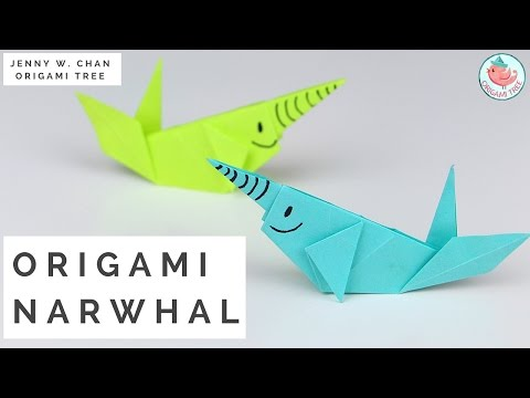 Paper Crafts - Origami Whale (Paper Narwhal Tutorial) - YouTube