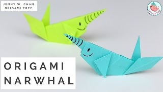 Paper Crafts - Origami Whale (Paper Narwhal Tutorial)
