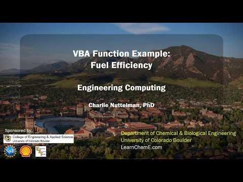 VBA Function Example: Fuel Efficiency