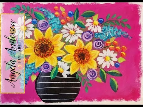Easy Sunflowers Daisies Live Beginner Acrylic Painting Lesson