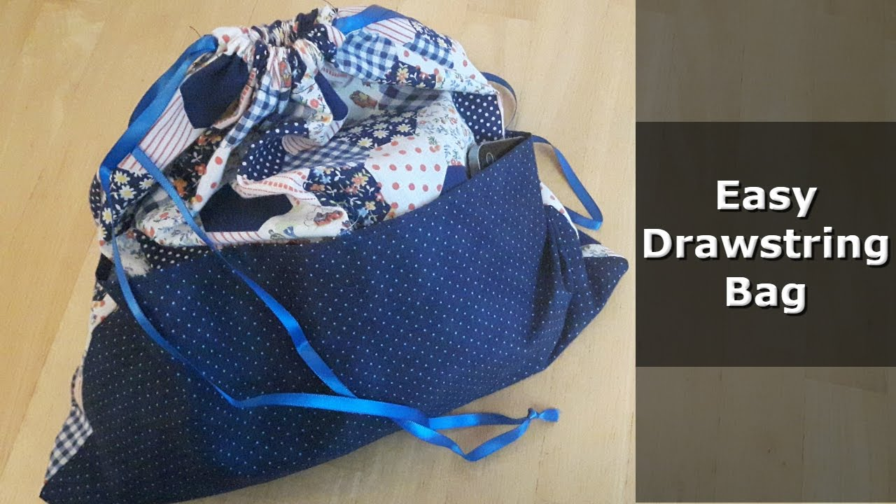 Super Easy Drawstring Bag Tutorial - with pockets!!! - YouTube