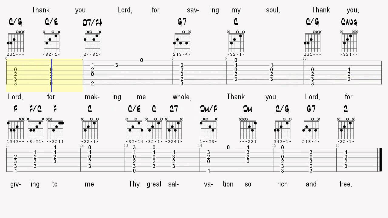 Learn Sunday School Songs On Guitar Thank You Lord Tablature And