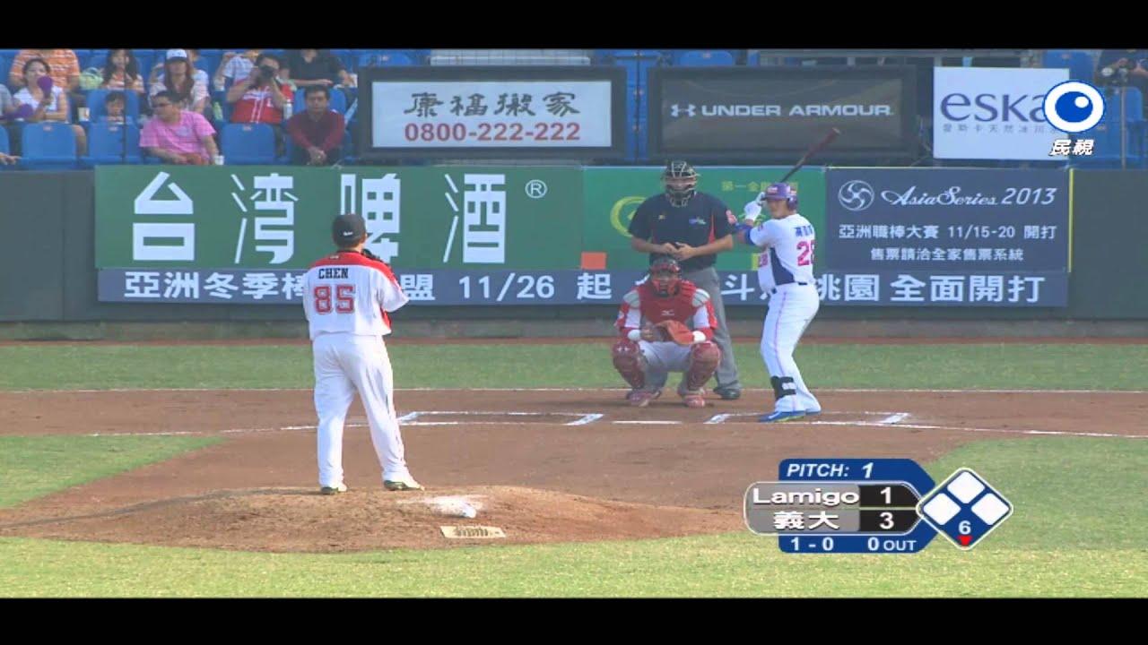 20131109 亞洲職棒大賽熱身賽 Lamigo桃猿 vs. 義大犀牛 - YouTube